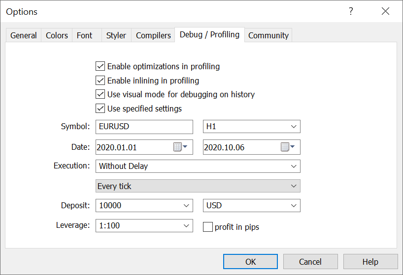 For visual debugging enable the appro priate option in MetaEditor settings