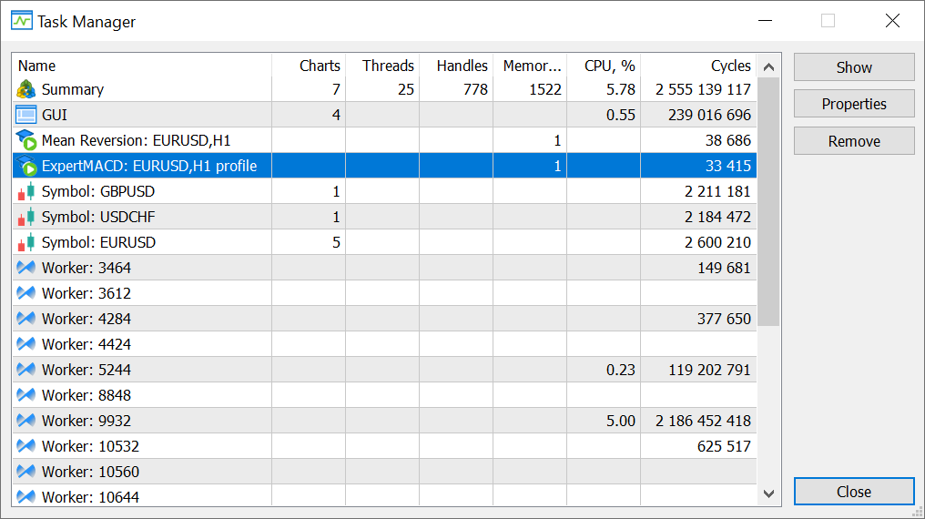 Debugging and profiling are shown in Task Manager