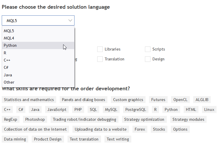 Selecting a programming language for a Freelance order