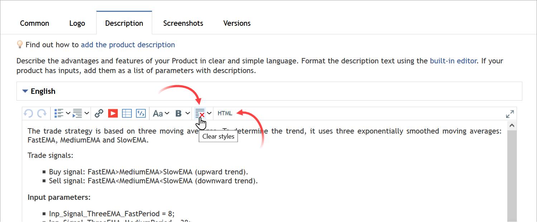To remove unnecessary formatting markup symbols, select