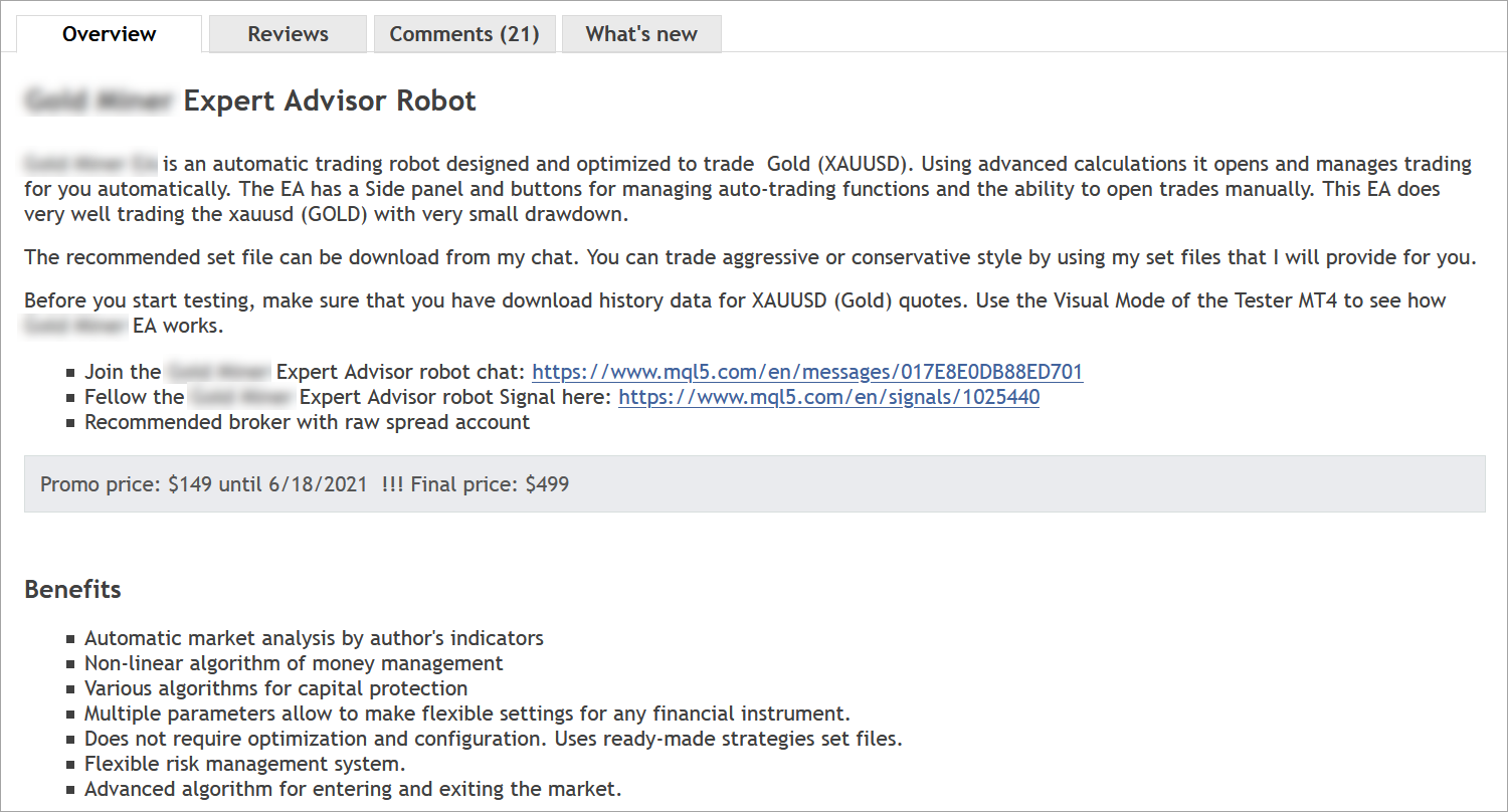 Example of a revised product description