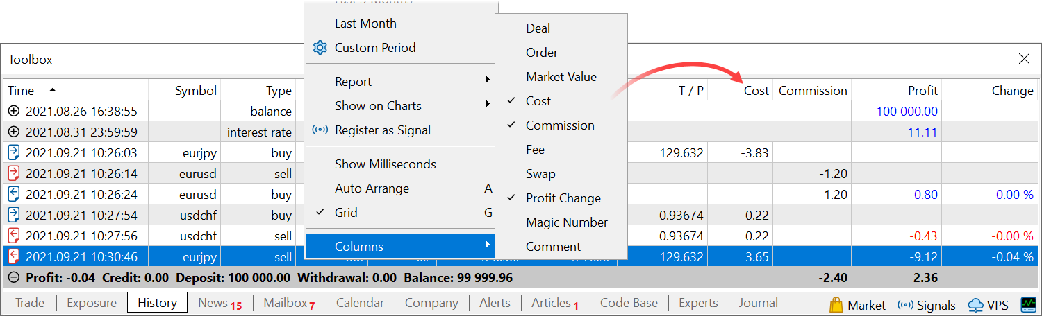 The account history now shows deal costs